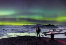 NORTHERN LIGHTS at Jökulsárlón Glacier Lagoon