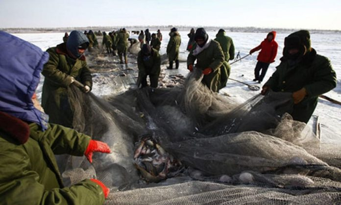 Traditional Ice Fishing In China