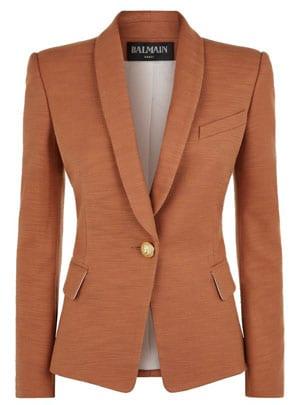 Balmain Single Breasted Cotton Blazer