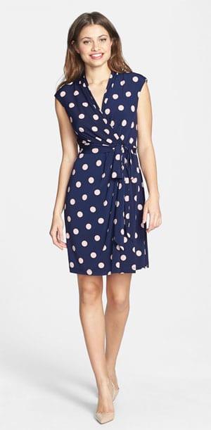Eliza J Dot Jersey Faux Wrap Dress