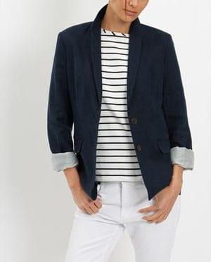 Garment Washed Linen Blazer