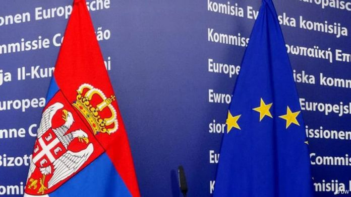 Serbia and European Union flags