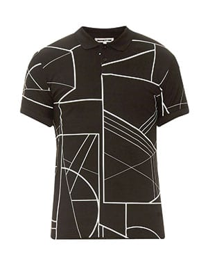 MCQ Linear-Print Cotton Polo Shirt