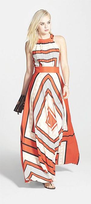 Scarf Print Flare Maxi Dress