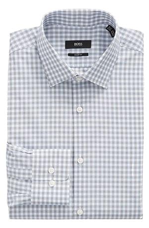 BOSS Sharp Fit Plaid Dress Shirt