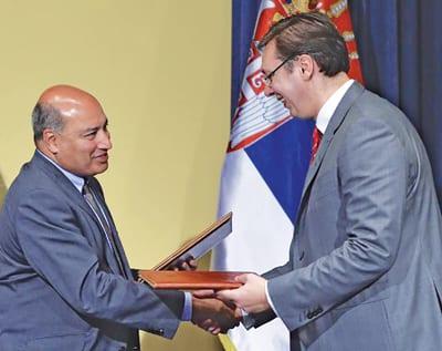 SIR CHAKRABARTI SUMA and Serbian Prime Minister ALEKSANDAR VUČIĆ