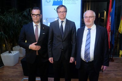 ROLAND SEELINGER, President of the German-Serbian Chamber of Commerce (left), H.E. AXEL DITTMANN, German Ambassador, and MARTIN KNAPP, Director of the German-Serbian Chamber of Commerce