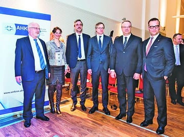 MARTIN KNAPP, Director of the German-Serbian Chamber of Commerce, JULIA ARNOLD, Executive Member of the AHK Management Board, MARKO ?ADEŽ, President of the Serbian Chamber of Commerce, H.E. AXEL DITTMANN, German Ambassador, ŽELJKO SERTI?, former Serbian economy minister, and Dr RONALD SEELIGER, President of the German-Serbian Chamber of Commerce