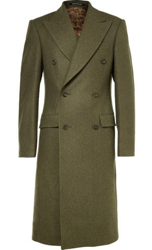 Richard James Double –Breasted Melton Wool Overcoat
