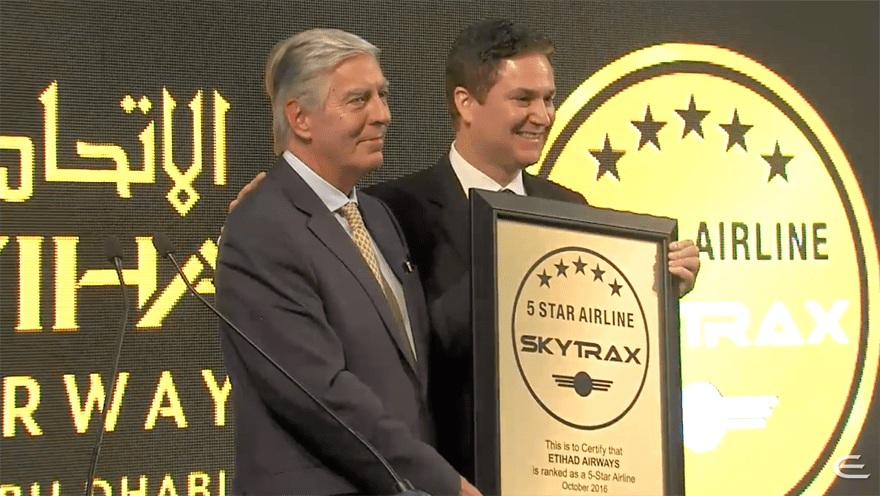 Etihad Airways Awarded the Skytrax Certified 5-Star Airline Rating
