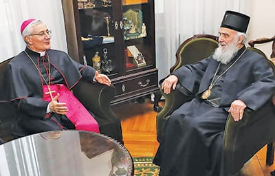 Archbishop Luciano Suriani and Patriarch Irinej