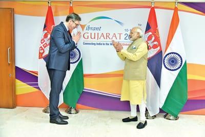 Serbian President Aleksandar Vučić and Indian Prime Minister Narendra Modi