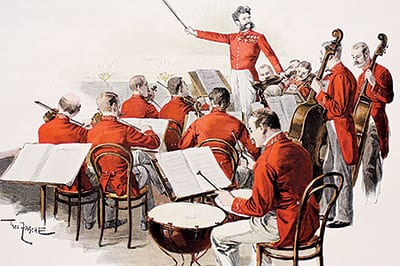 Imperial Ball musical director JOHANN STRAUSS JR. with his band
