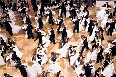 THE VIENNESE WALTZ is a quick rotating ballroom dance with a subtle rise and fall