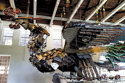 XU BING spent two years creating Phoenix, a 12-tonne sculpture made entirely from scrap