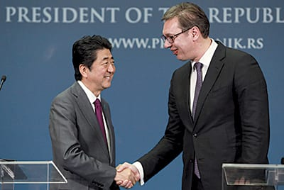 Japanese Prime Minister SHINZO ABE and Serbian President ALEKSANDAR VUČIĆ