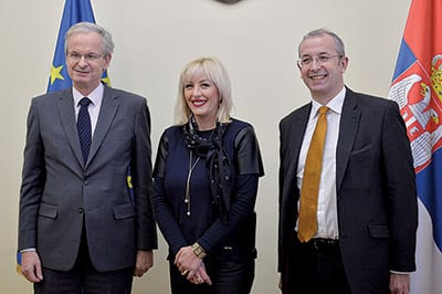 CHRISTIAN DANIELSSON (left), Minister JADRANKA JOKSIMOVIĆ and MICHAEL DAVENPORT, former EU Delegation to Serbia head