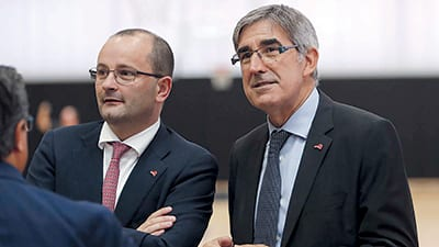 PATRICK BAUMANN, FIBA Secretary general, and JORDI BERTOMEU