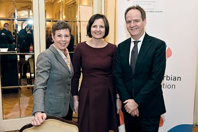 KRISTINA LANG, Deputy State Secretary at the Swiss Ministry of Foreign Affairs (left), URSULA LÄUBLI and H.E. PHILIPPE GUEX