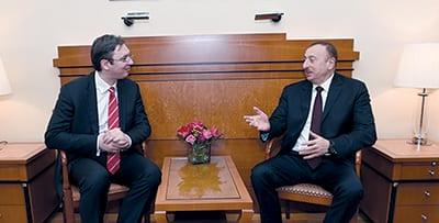 IN FEBRUARY 2015, PRESIDENT ILHAM ALIYEV MET WITH SERBIAN PRIME MINISTER ALEKSANDAR VUČIĆ IN MUNICH