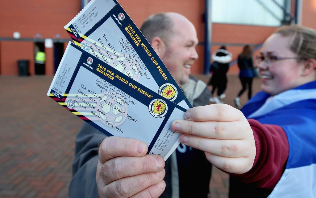 GLASGOW, SCOTLAND - OCTOBER 05:  Fans show off their tickets prior to the FIFA 2018 World Cup Group F Qualifier between Scotland and Slovakia at Hampden Park on October 5, 2017 in Glasgow, Scotland.  (Photo by Steve Welsh/Getty Images)