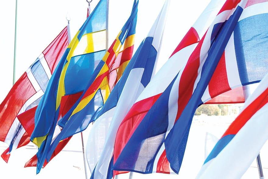 Nordic model Embracing Globalisation Sharing Risks flags