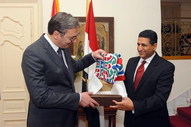 President Aleksandar Vučić with ambassador of Egypt Amr Ajlowaily