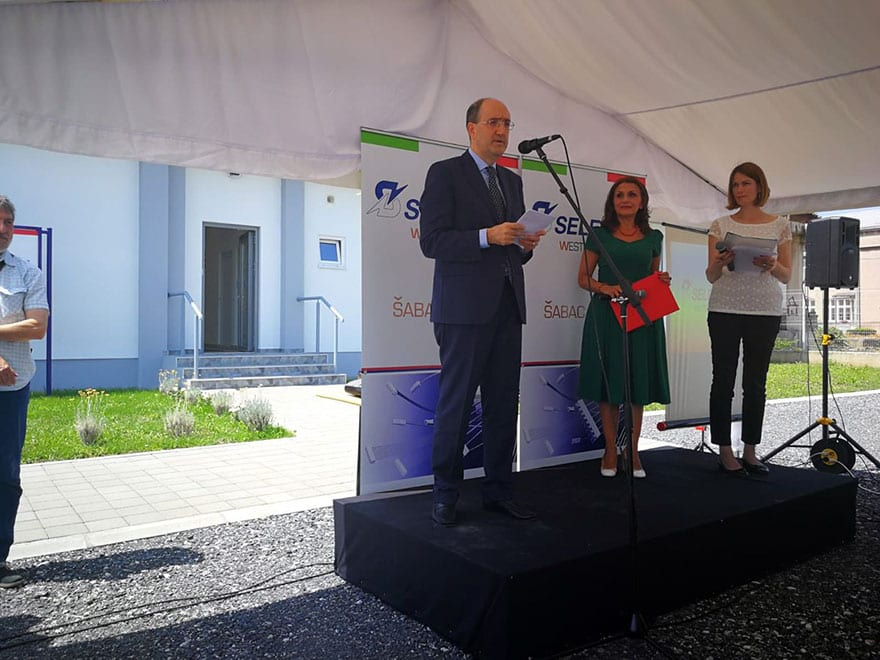 Carlo lo Cascio at the opening of Selettra factory in Sabac