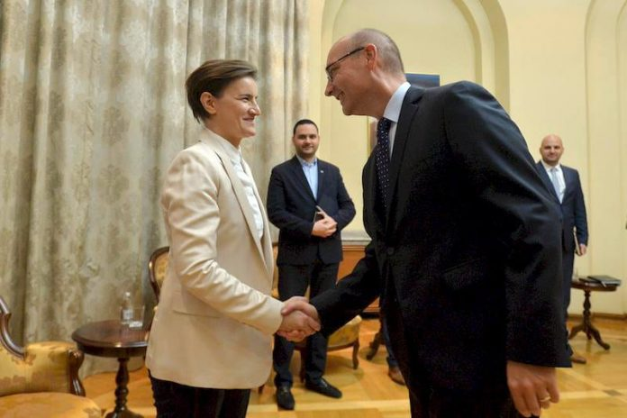 Ana Brnabic Frederic Mondoloni Prime Minister Brnabic met with outgoing Ambassador of France