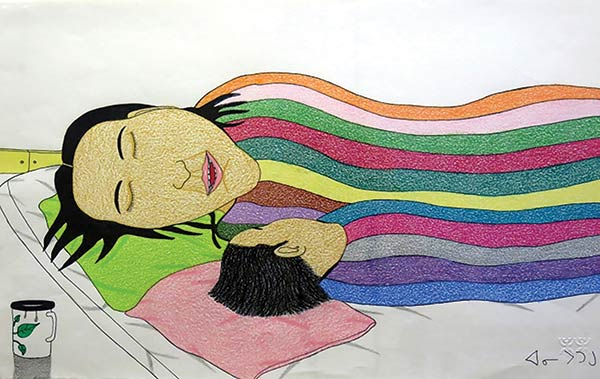 Annie Pootoogook Couple Sleeping
