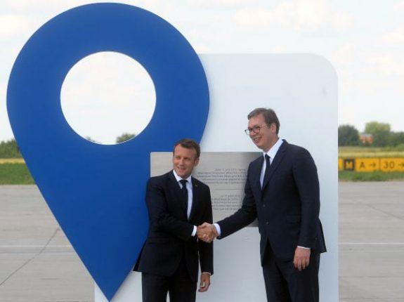Emmanuel Macron arrives in Belgrade Serbia Aleksandar Vucic Vinci