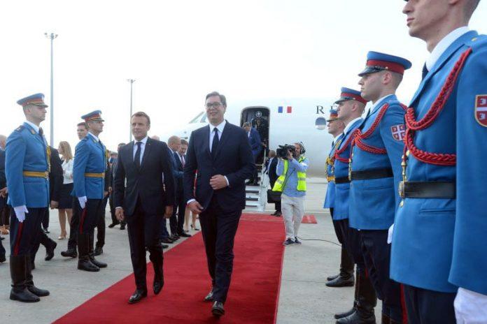 Emmanuel Macron arrives in Belgrade Serbia Aleksandar Vucic