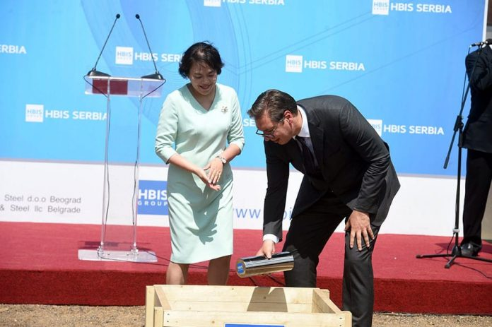 Ambassador Bo Chen and President Aleksandar Vucic on stone laying ceremony Foundation stone laying ceremony of the new the HBIS GROUP Serbia's plant facility Aglomeracija