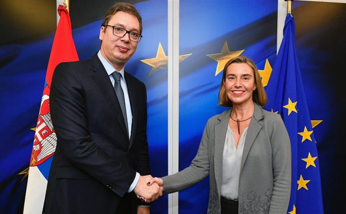 Federica Mogherini and Aleksandar Vucic