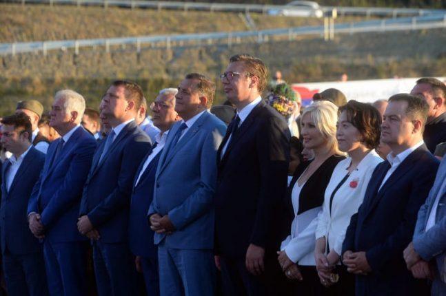 Serbian President ceremoniously opens Milos the Great highway Vucic Chen Bo Dacic Mihajlovic Dodik