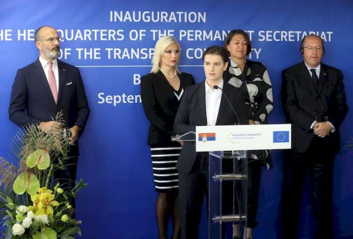 Ana Brnabić and Sam Fabrici, Headquarters of the Transport Community Opens in Belgrade