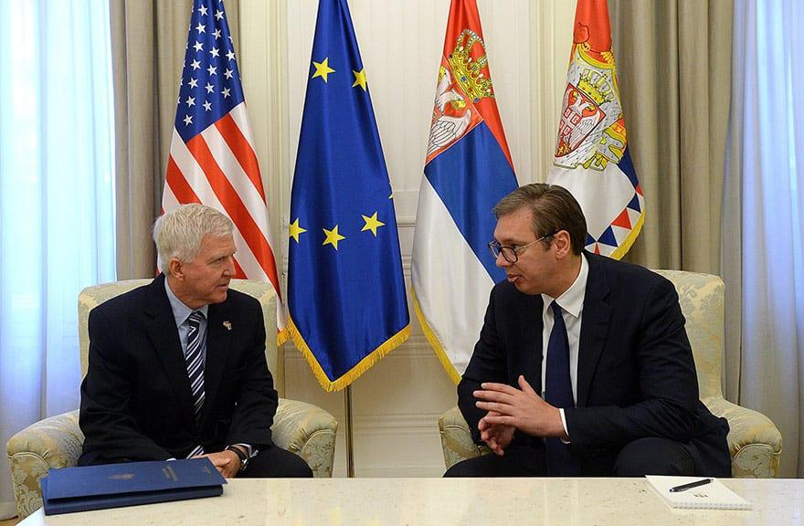 President Aleksandar Vucic and US Ambassador to Serbia Kyle Scott