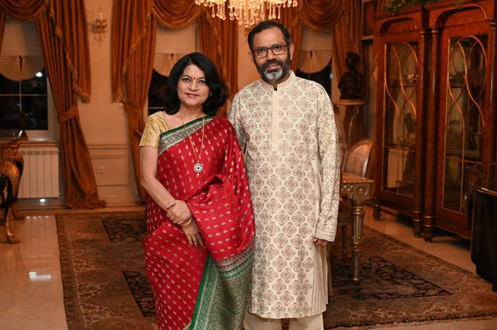 Ambassador of India Subrata Bhattacharjee with wife Diwali