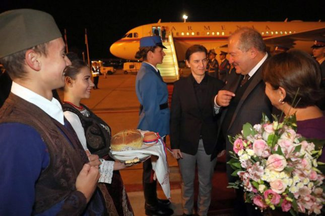 President of Armenia Armen Sarkissian and spouse Nouneh Sarkissian arrived in Belgrade Ana Brnabic Nikola Tesla Airport
