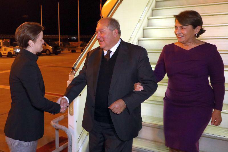 President of Armenia Armen Sarkissian and spouse Nouneh Sarkissian arrived in Belgrade Ana Brnabic