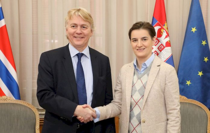 Ambassador of the Kingdom of Norway to Serbia H.E. Jorn Eugen Erling Gjelstad and Ana Brnabic