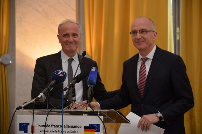 German Ambassador Thomas Schieb and French Ambassador Jean-Louis Falconi Anniversary of the Elysee Treaty and the the Aachen Treaty
