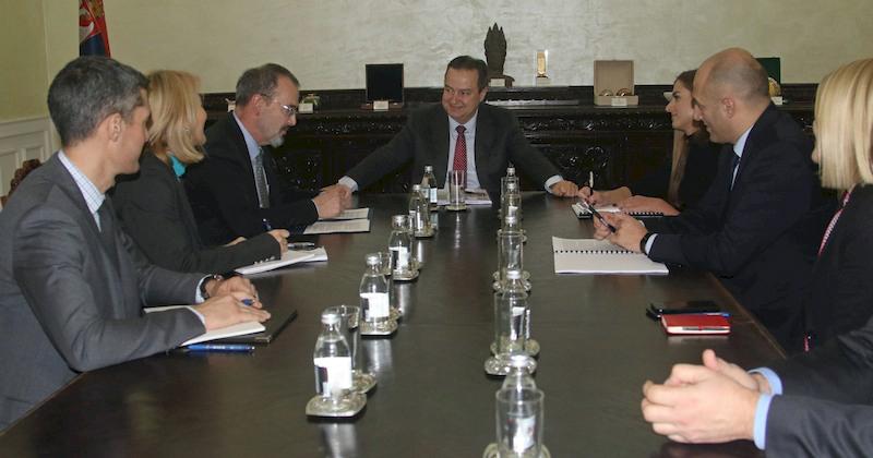 Ivica Dacic and US Ambassador to Serbia Anthony Godfrey