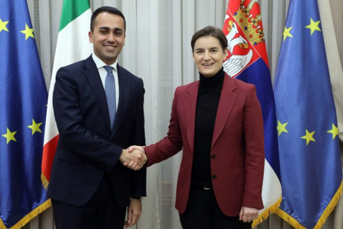 Ana Brnabic Italian Minister of Foreign Affairs Luigi Di Maio