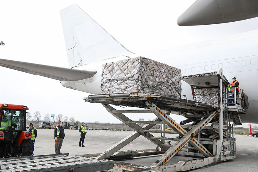 EU sends another 90 tonnes of medical equipment to Serbia package plane