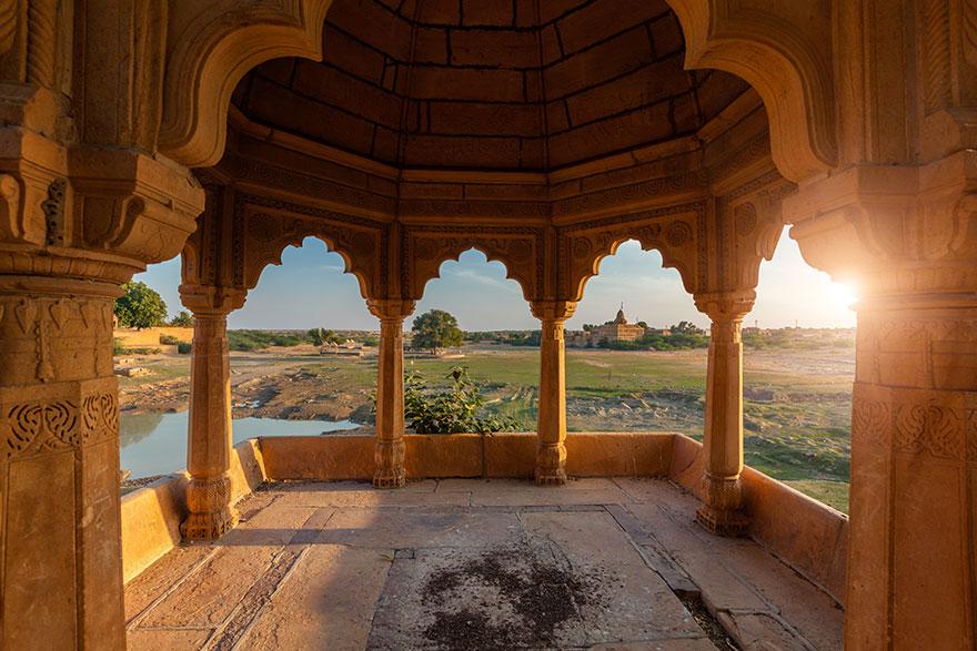 How is India handling COVID-19 crisis pavillion at Amar Sagar Lake Jaisalmer Rajasthan