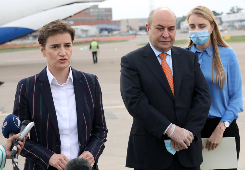 Plane with medical equipment from Azerbaijan arrives in Serbia Eldar Hasanov Ana Brnabic