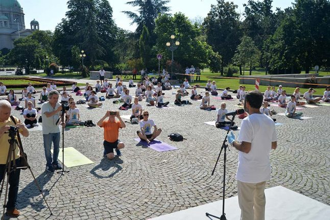 Celebration Of Sixth International Day Of Yoga In Serbia Ambassador of India Subrata Bhattacharjee
