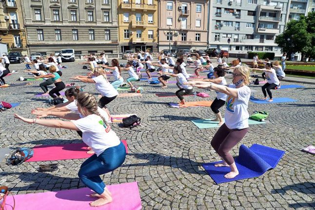 Celebration Of Sixth International Day Of Yoga In Serbia Ambassador of India Subrata Bhattacharjee